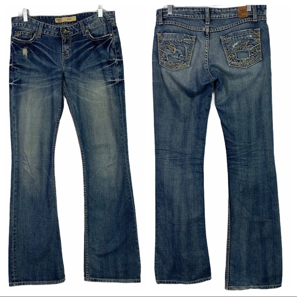BKE Star Distressed Stretch Bootcut Jeans 27 Long
